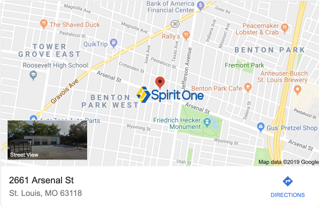 Spirit One Automotive Repair Location Map 2661 Arsenal Street, St. Louis Missouri 63118